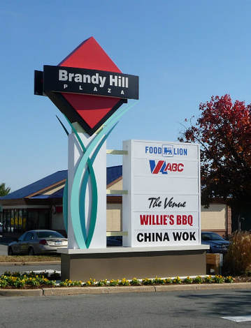 Shopping center pylon sign
